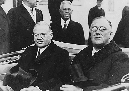 Hoover and Roosevelt on Inauguration Day, 1933