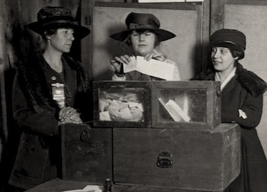 Women cast ballots for one of the first times in the 1920s