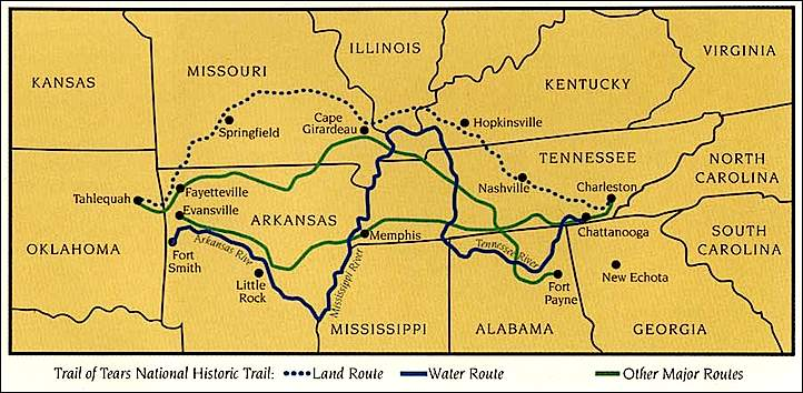 american history usa map of the cherokee trail of tears