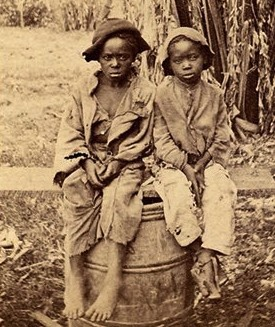 Photograph of two slave children, North Carolina