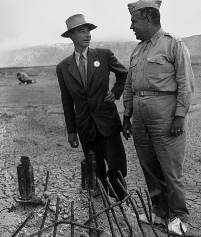 J. Robert Oppenheimer and Leslie Groves, 1945.