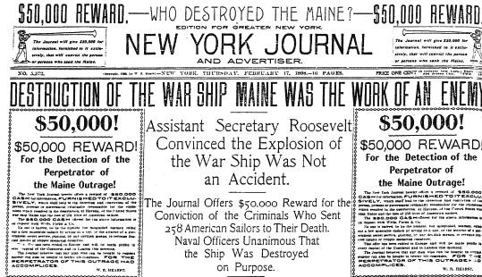 New York Journal headline after the U.S.S. Maine explosion.