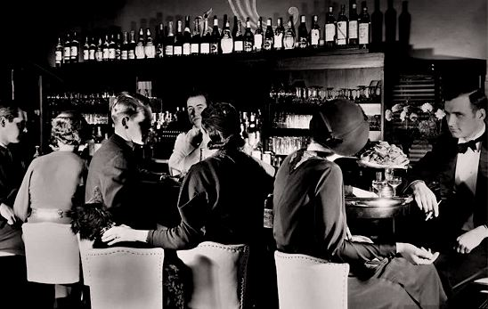 A speakeasy crowd in the 1920s